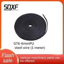 GT6-6mm synchrone ceinture ceinture synchrone ensemble de roues 1/2/5/10/50m caoutchouc mxl/gt2 polyuréthane 3D imprimante accessoires