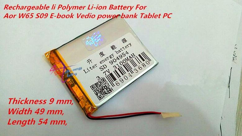 904954 3.7V 3100mAh li Polímero Bateria Li-ion Para Aor W65 S09 E-book Vedio Tablet PC banco de energia móvel falante dvd 905055