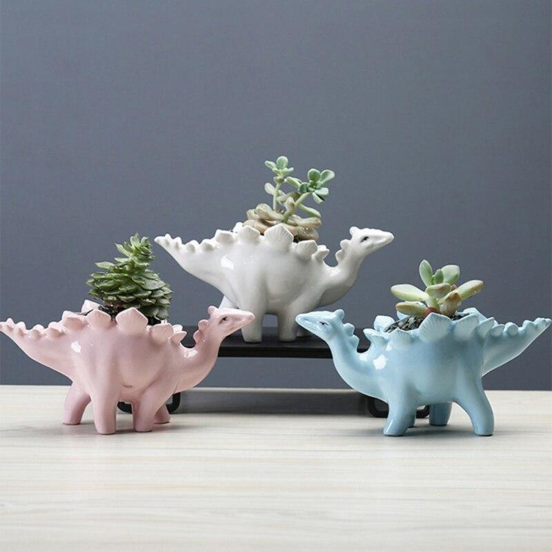 Creative Ceramic Stegosaurus Flower Pot Succulent Garden Desktop Decoration With Tray Creative Dinosaur Flower Planter Pot