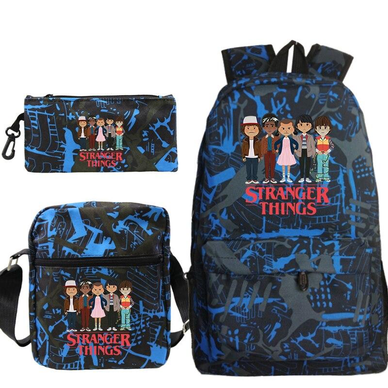 Bolsa de Viagem Bolsas de Escola para Adolescentes Coisas Estranhas Mochila Diariamente Bolsa Casuais Meninos 3 Pçs – Set Mochilas
