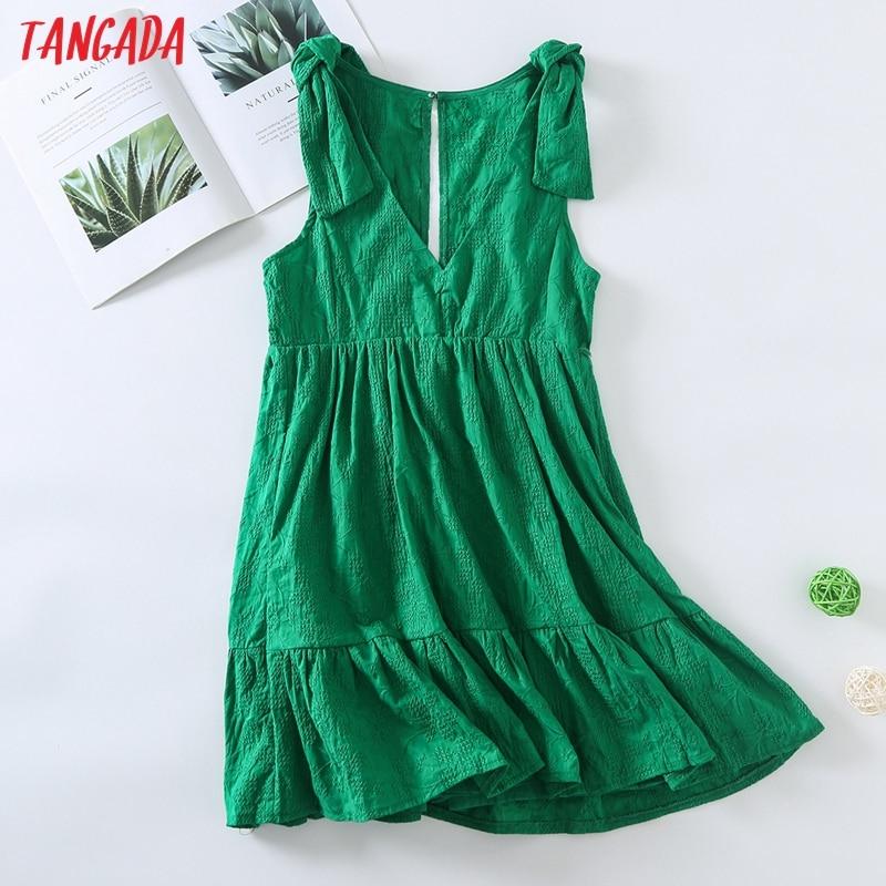 Tangada موضة النساء الصيف القطن الأخضر التطريز Playsuit القوس أكمام أزرار الإناث الشاطئ Playsuit 6H53