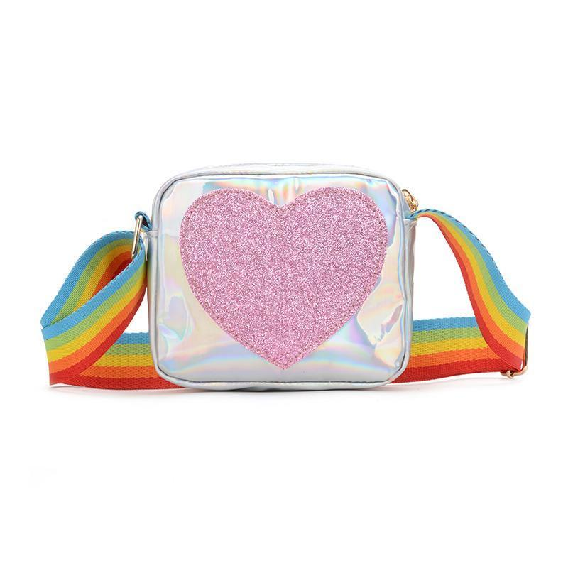 Lovely Children's Small Square Shoulder Bags PU Leather Baby Boys Kids Crossbody Bag Rainbow Love Little Girls Mini Coin Purse