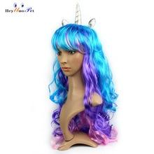Единорог парики в цвете цвет красочные волнистые пони парик конский волос вечерние реквизит