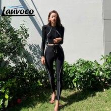 Noir éruption garde maillot de bain deux pièces à manches longues maillots de bain femmes coréen pantalons longs maillot de bain femme rashguard surf costume