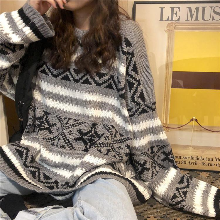 Autumn and Winter New Korean Pullover Striped Sweater Female Student Retro Lazy Style round Neck Long Sleeve Versatile Knitwear enlarge
