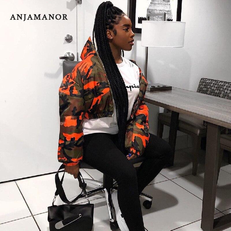ANJAMANOR Orange Camouflage Short Puffer Jacket Women Fashion Cropped Bubble Coat Winter 2020 Streetwear Parka Mujer D30-BA90