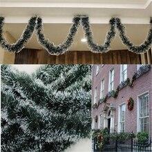 Поп 2 м Рождественская декоративная панель, топ, лента, гирлянда, Рождественская елка, украшения, белый, темно-зеленый трость, олово, для вечеринок, кухонные принадлежности