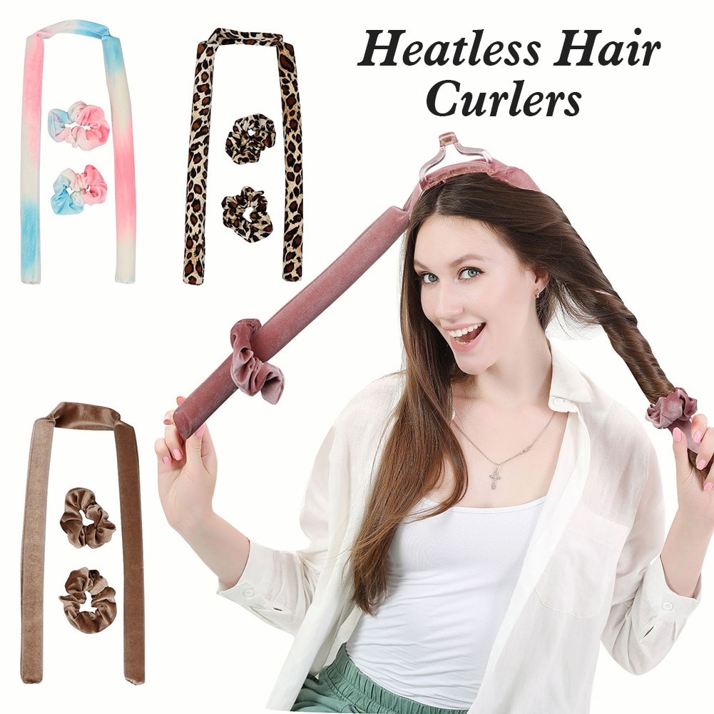 Heatless Hair Curlers Soft Hair Rollers No Heat Curls Headband with Hair Ties Overnight Hair Curling Rod for Long Hairs Shipping