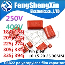 Condensador de película de polipropileno CBB22, CBB21, CBB, 250V, 400V, 184J, 185J, 205J, 224J, 255J, 274J, 305J, 335J, 394J, 10 unidades