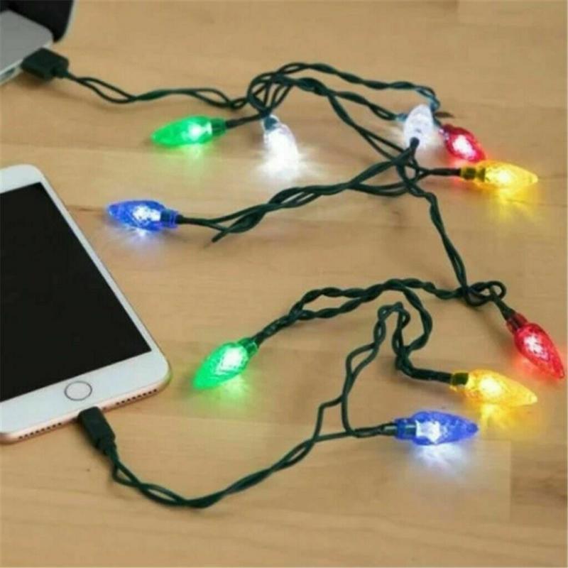 2020 nuevo para Iphone iluminación Android luz Feliz Navidad Led USB Cable cargador Dci Cable dropshipping