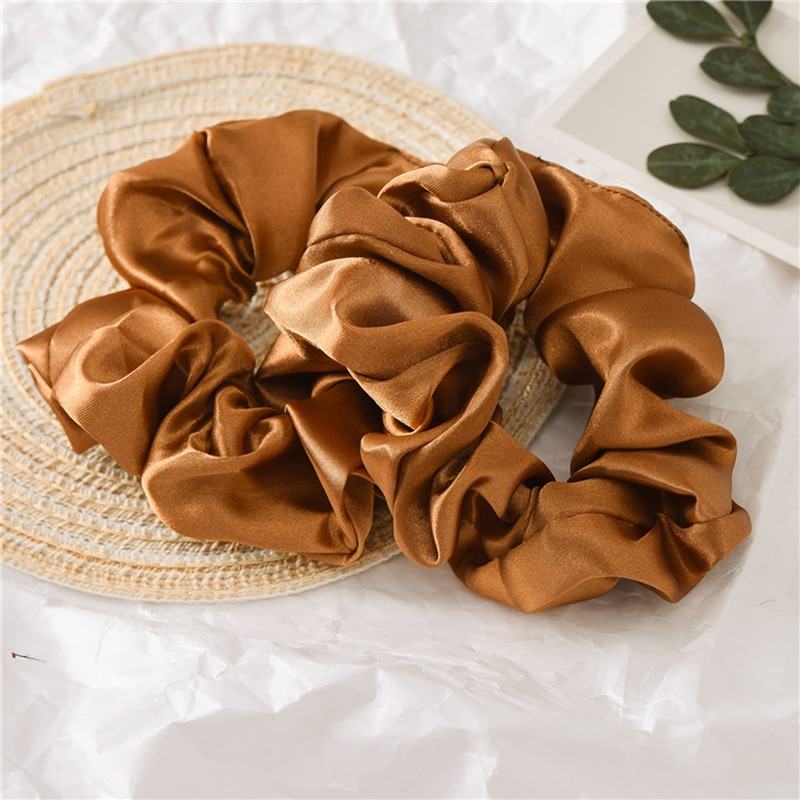 1pc satin sutera warna solid scrunchies tali rambut elastik, aksesori - Aksesori pakaian - Foto 5
