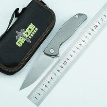 Couteau pliant avec rabat F95 pour épine verte D2 lame TC4 manche plat en titane, pour le camping, la chasse, le plein air, couteaux à fruits, EDC