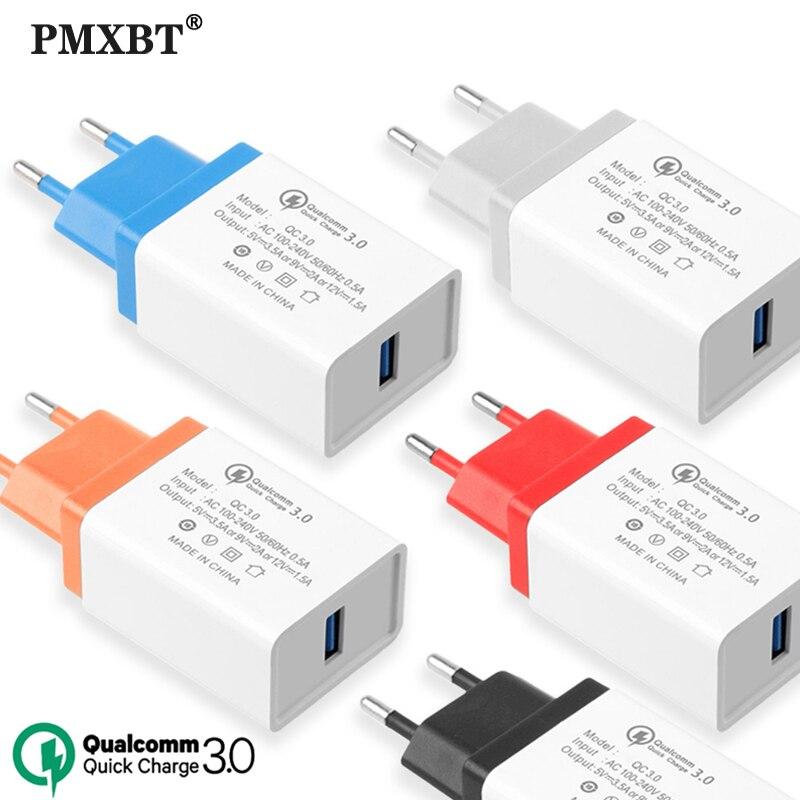 Cargador de viaje USB color caramelo, adaptador de toma de corriente de pared para teléfono móvil, cargador de enchufe europeo para iPhone 11 XS 7 Huawei P9 QC 3,0, carga rápida