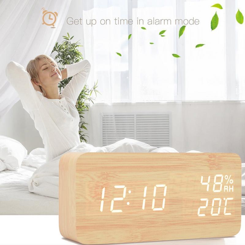 Reloj despertador LED de madera, reloj de sobremesa, Control de voz, temperatura, humedad, pantalla, escritorio, relojes despertadores, decoración del hogar