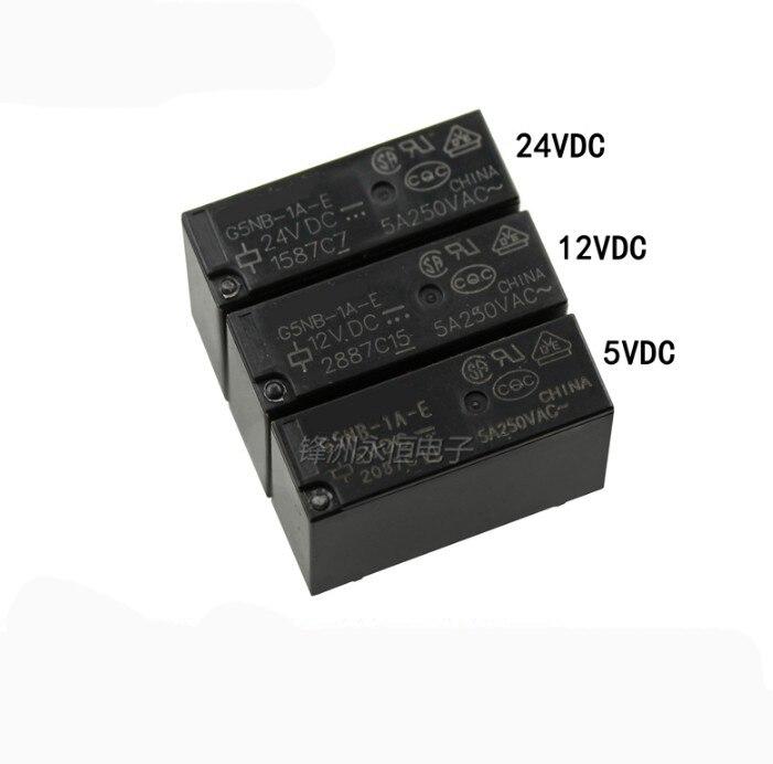 10 unids/lote G5NB-1A-E G5NB-1A-E-5VDC G5NB-1A-E-12VDC G5NB-1A-E-24VDC 5A/250VAC 5V/12V/24V Mini relé de potencia