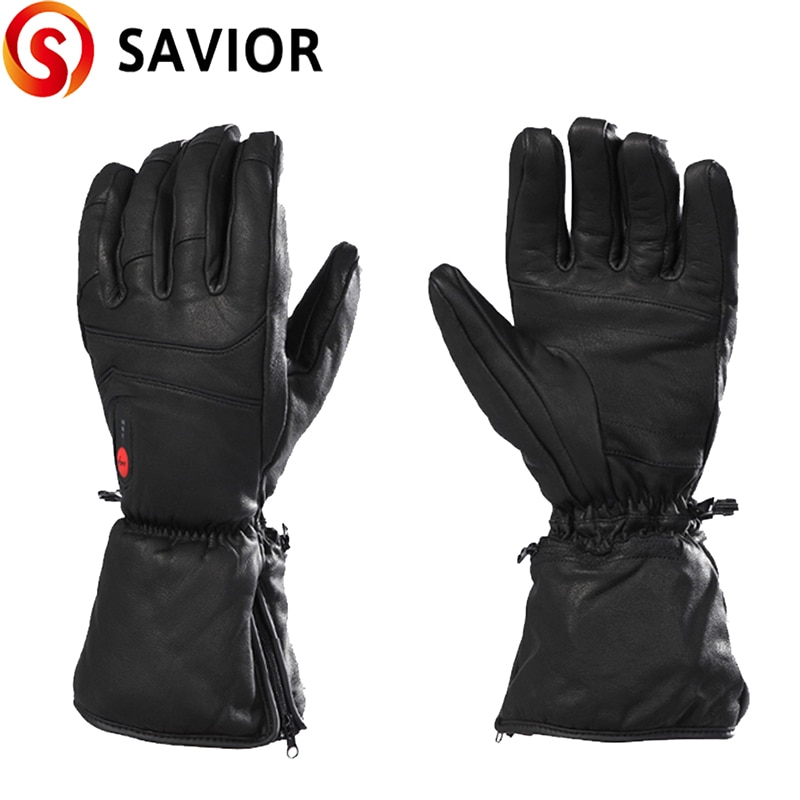 Savior Heated Gloves Goatskin Electric Heated Skiing Gloves for Winter Sports Motorcycling Riding Skiing Fishing Hunting SHGS06