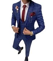 mens suit plaid blue three piece mens slim fit dress suit fashion plaid checked blue purple for wedding jacketpantvest