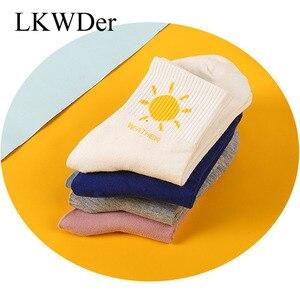 LKWDer 5 Pairs 2021 Autumn Winter New Socks Women Korean Fashion Casual Girls Socks Cotton Cartoon Ladies Mid Tube Socks Meias