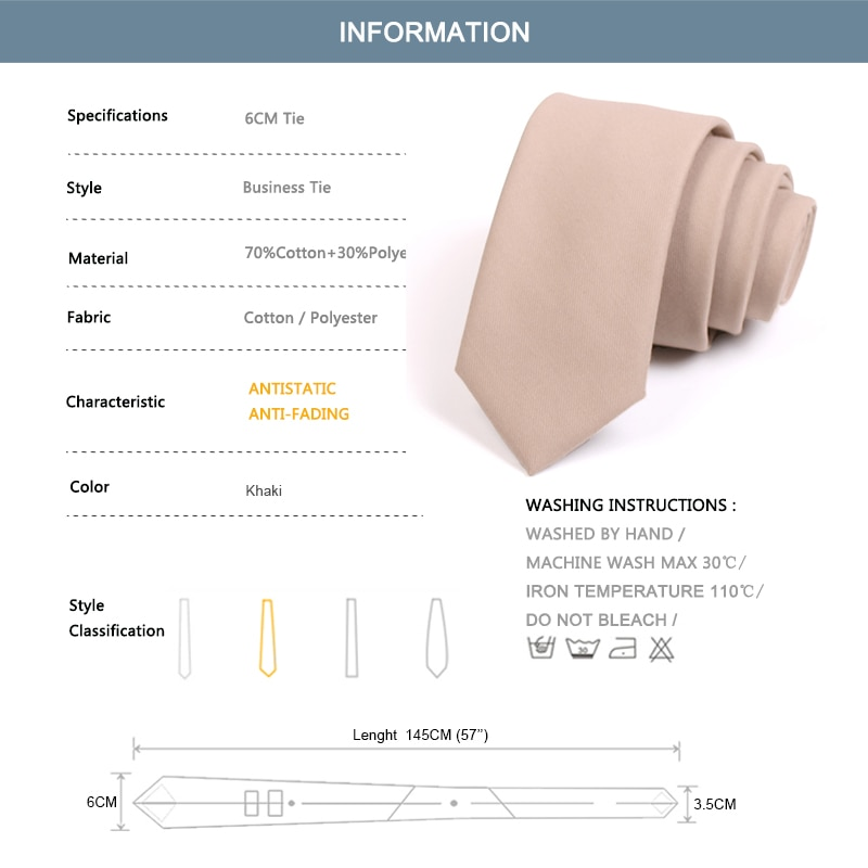 Brand New High Quality Solid Color  6CM Slim Tie For Men Business Suit Work Necktie Male Fashion Formal Neck Tie With Gift Box