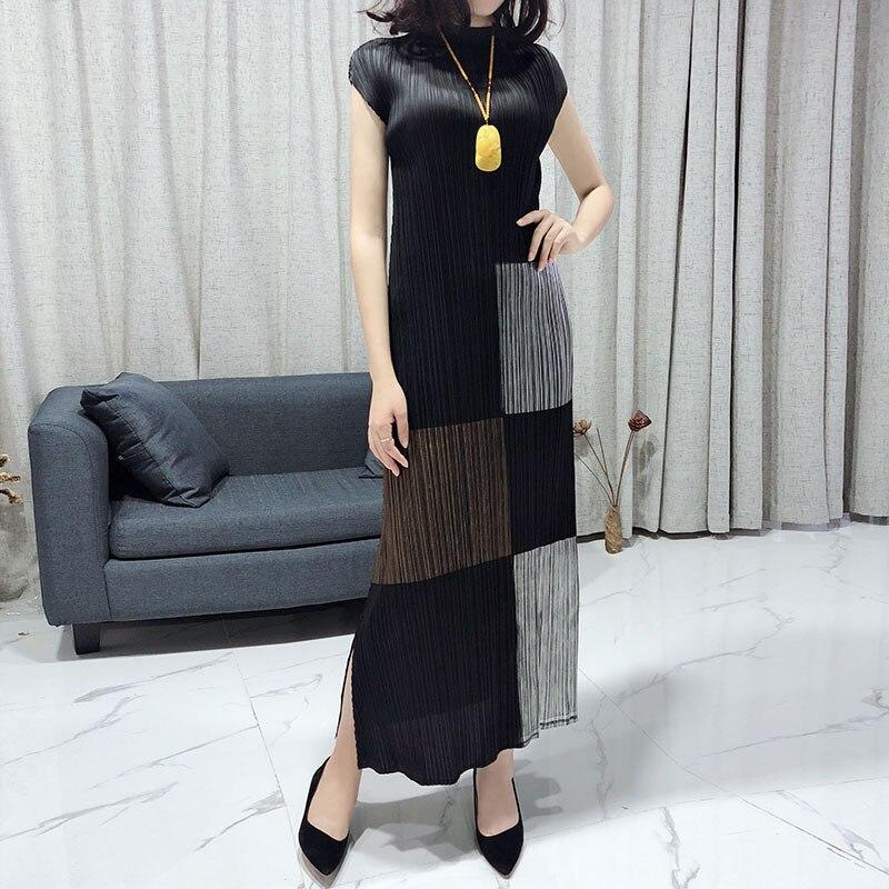 Miyake مطوي فستان صيفي للأزياء الراقية المرأة الياقة المدورة البرنز طويل سليم أكمام أنيقة ألف خط فستان خمر الملابس