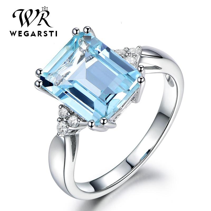 WEGARASTI, серебро 925, Ювелирное кольцо, аквамарин, драгоценный камень, кольца для женщин, настоящее 925 пробы, Серебряное женское Ювелирное кольцо
