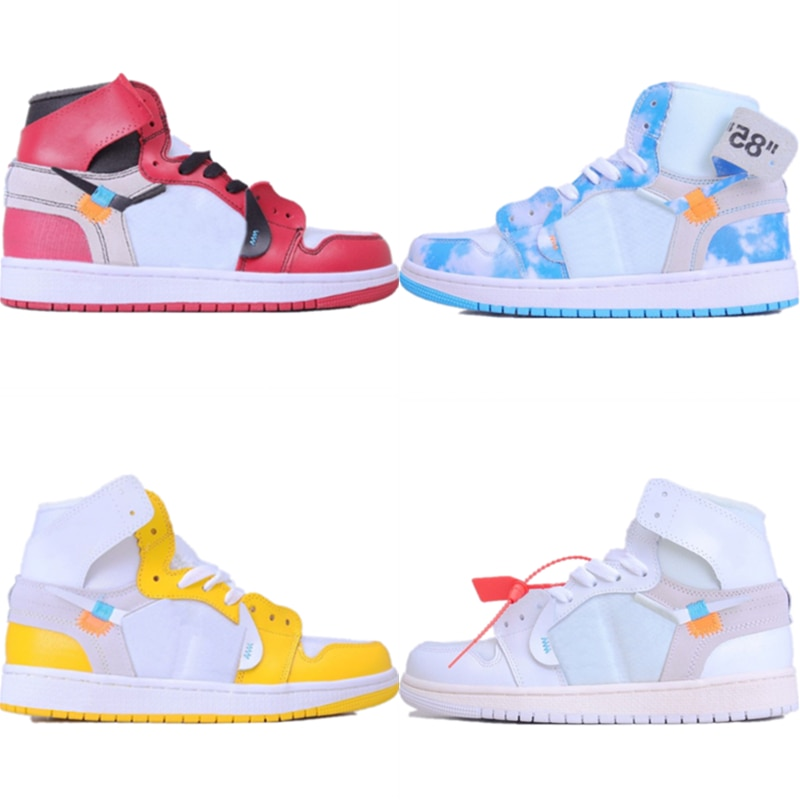 1 Quality OG UNC Chicago High Top 1s Basketball Sneaker Powder Triple White Built-in Zoom Air Cushioned Sports Shoes