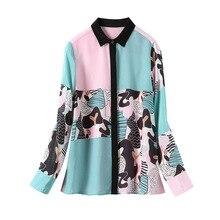 2020 봄 여성 긴팔 럭셔리 실크 100% 셔츠와 블라우스 캐주얼 턴 다운 칼라 탑스