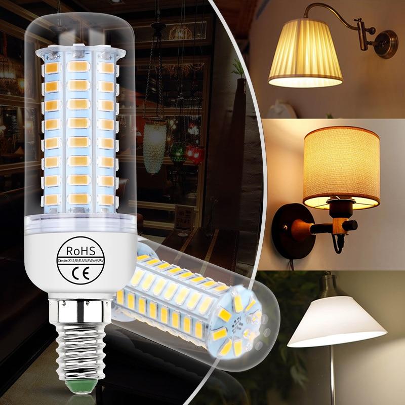 E27 milho lâmpada led e14 220 v ampola gu10 lâmpada led g9 24 36 48 56 69 72leds bombillas b22 casa luz 5730 lustre vela