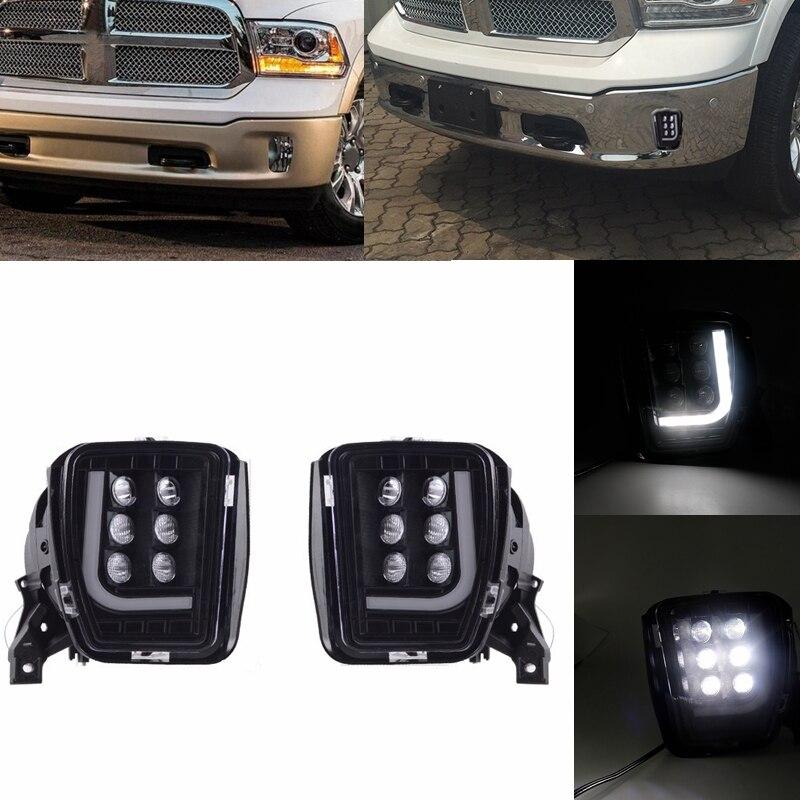 1 par de luces antiniebla ahumadas de 12V 3000K para parachoques delantero de coche, luz blanca para Dodge RAM 1500 2013 - 2018