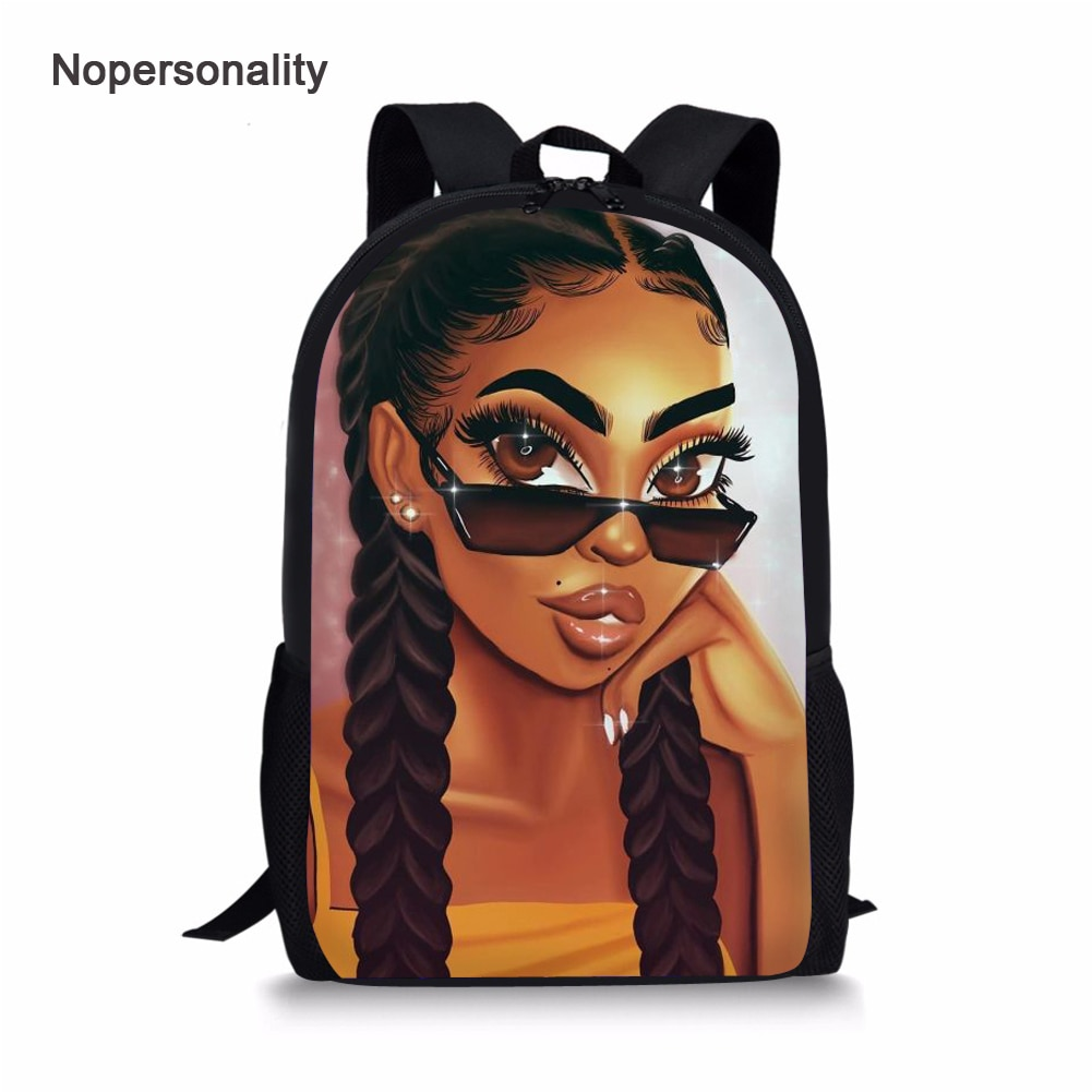 Nopersonality Black Afro Girl Magic Book Bags African School Bag Set for Kids Stylish Elementary Children American Backpacks