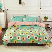3pcs4pcs cartoon girl floral bedding sets soft duvet bed cover comforter flat sheet twin full queen king size free pillowcases