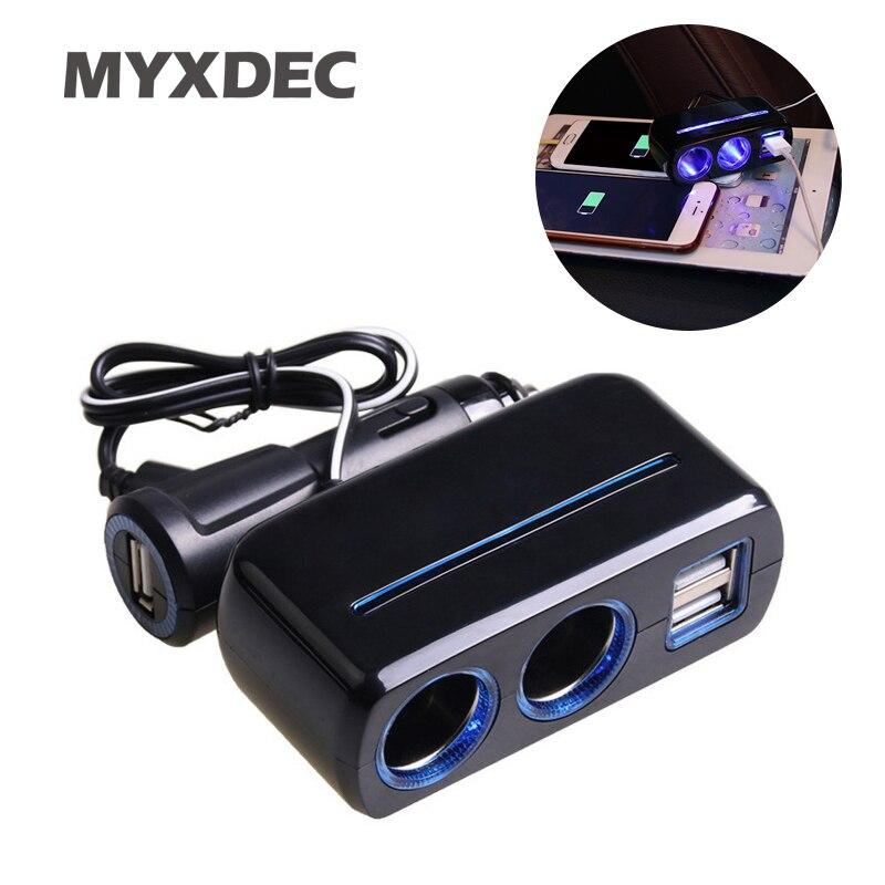 3.1A 1 para 2 Triplo Soquete + USB Power Supply 80w Adaptador de Carregador de Carro Com Luz Azul Auto Veículo 12 V-24 V/DC Tensão Display