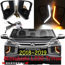 1set Bumper headlight for Mitsubishi Triton daytime light 2018~2019y car accessories LED DRL headlamp for Triton fog light