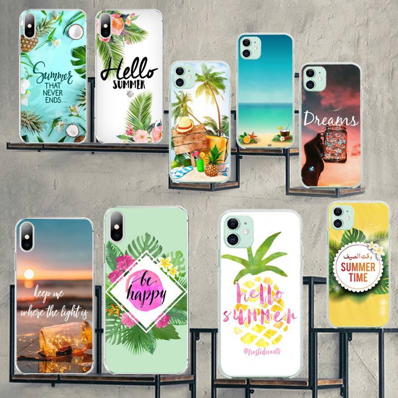 HPCHCJHM Hola vacaciones de verano de chica negro caja del teléfono para iPhone 11 pro XS MAX 8 7 6 6S Plus X 5S SE 2020 XR cubierta