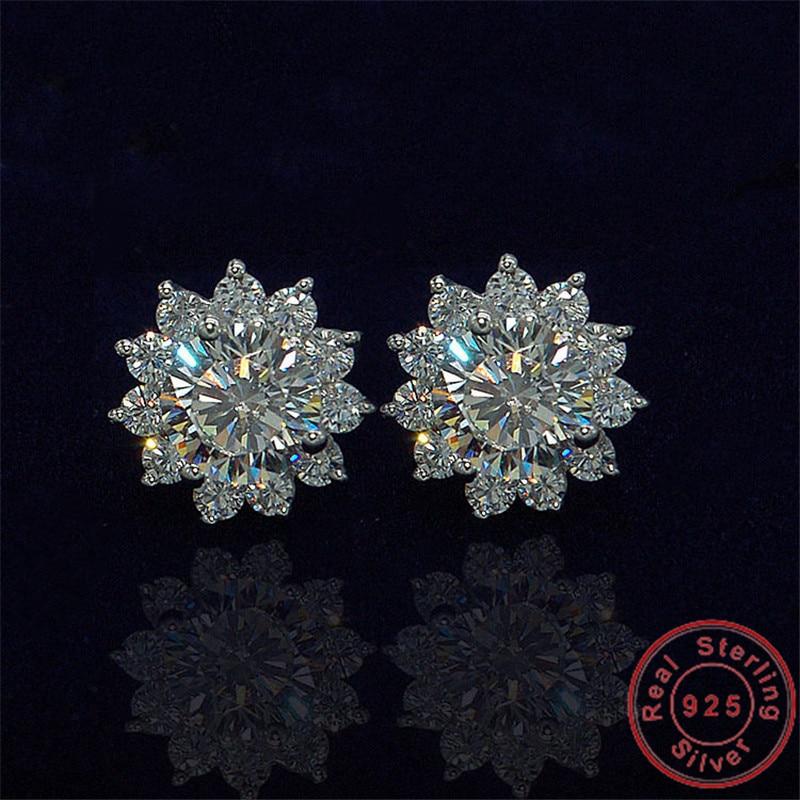 Vecalon Charming Flower earring AAAAA Cz stone Real 925 Sterling silver Statement Party wedding Stud Earrings for women Jewelry