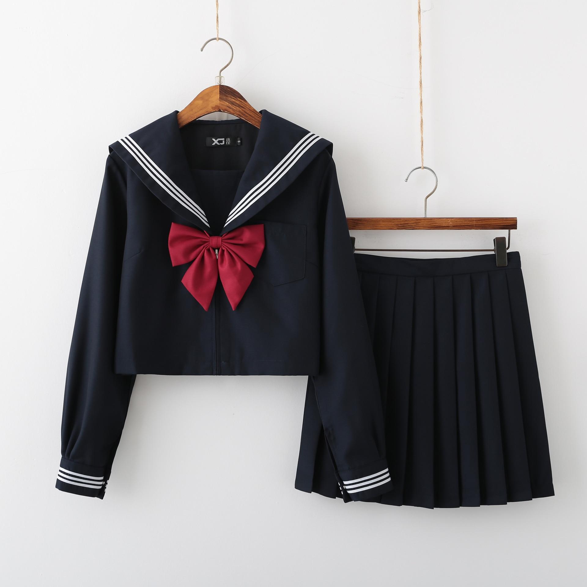 Jk uniforme escolar ortodoxo faculdade vento preto longo-mangas compridas feminino cos saia plissada terno japonês marinheiro terno estudantes usam xl
