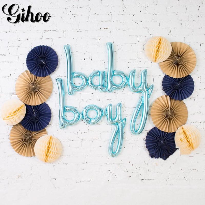1 unidad oro rosa enlace un niño niña Hola bebé globos de letras de papel aluminio Chicos 1st decoraciones para fiesta de cumpleaños suministros de baño para bebé juguetes