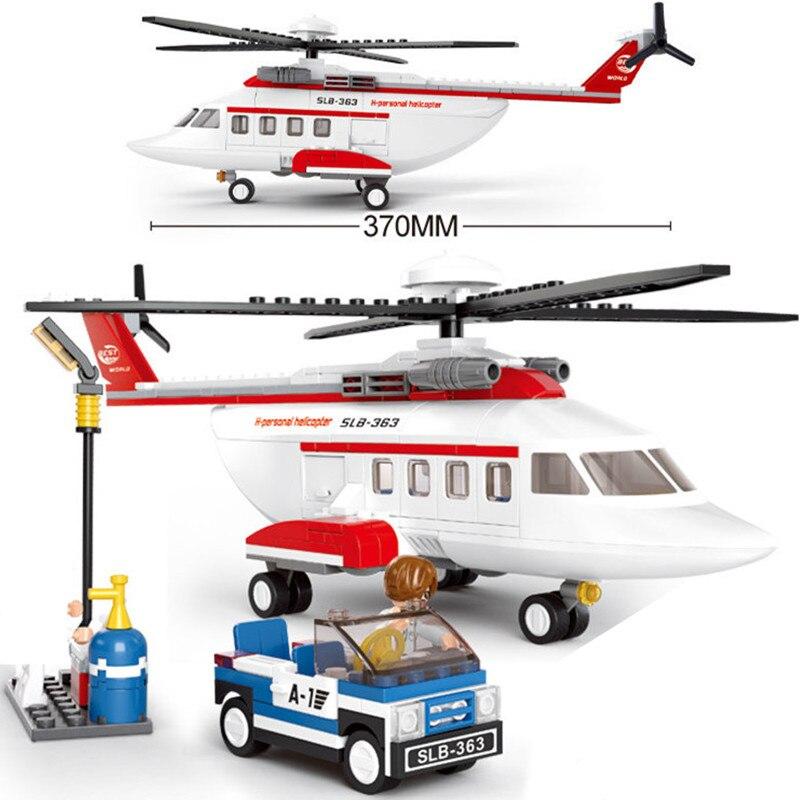 259 Uds. Helicóptero privado, avión aéreo, modelo de avión de transporte aéreo, conjuntos de bloques de construcción, 3 figuras, juguetes educativos para niños