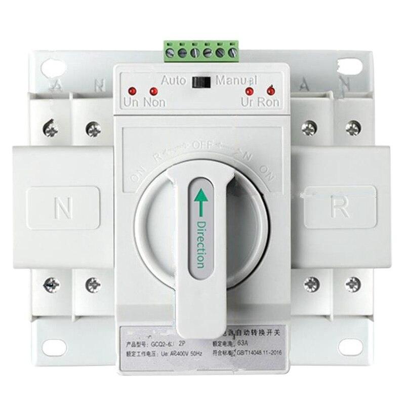 مفتاح نقل آلي مزدوج الطاقة 2P63A مفتاح تروس تبديل Cb فئة Ats المنزل مرحلة واحدة 220 فولت