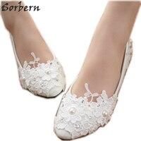 Sorbern Pregnant Women Flat Heel Women Shoes Pointed Toe Floral Lace Wedding Shoes White Ladies Flower Shoes Women Footwear New