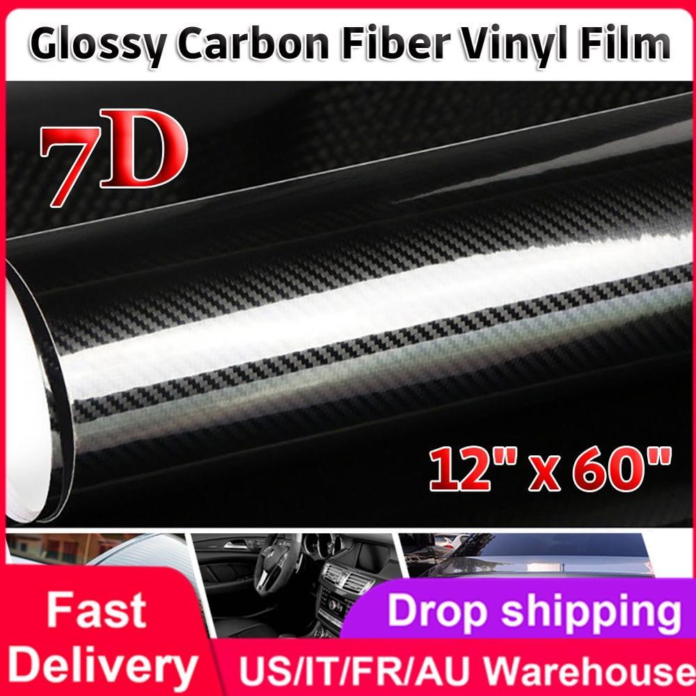 30CM * 152CM 7D fibra de carbono vinilo revestimiento para coche hoja rollo película coche estilo motocicleta coche pegatinas calcomanía accesorios de coche calcomanía película