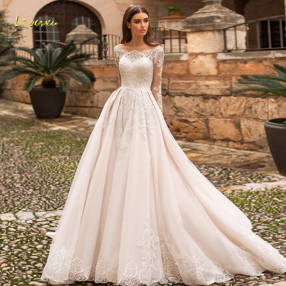 Loverko-فستان زفاف عتيق من الدانتيل ، فستان مثير برقبة قارب ، أكمام طويلة ، زينة ، قطار ، A-Line ، 2021