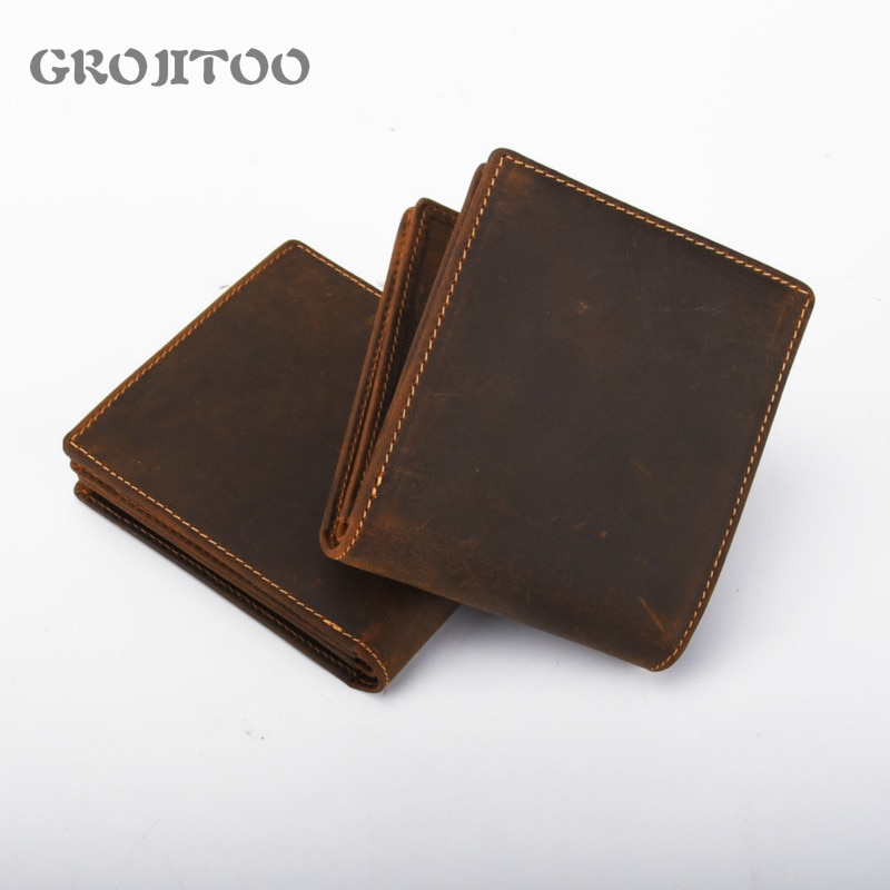 GEOJITOO Genuine Leather Men's Wallet Men's Short Purser Business First Layer Cowhide Wallet Vintage