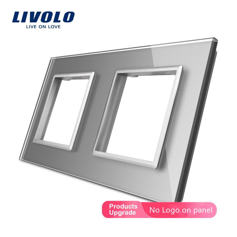 Livolo роскошное серое жемчужное Хрустальное стекло, 150 мм * 80 мм, стандарт ЕС, двойная стеклянная панель для настенного выключателя и розетки, ...