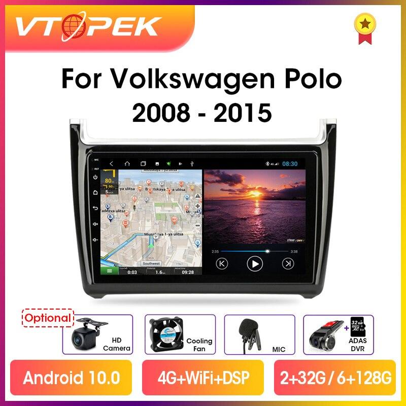 Фото - Vtopek 9 4G+WiFi 2din Android 10.0 Car Radio Multimedia Video Player GPS Navigation For Volkswagen VW Polo 2008-2015 Head Unit vtopek 9 4g wifi dsp 2din android 10 0 car radio multimedia player navigation gps for honda crv cr v 2006 2012 head unit 2 din