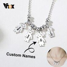 Vnox özelleştirmek aile isimleri kolye kadınlar için sevimli kız erkek adam kedi Pet şekil Charm kolye kalın Metal Sisters BFF hediye