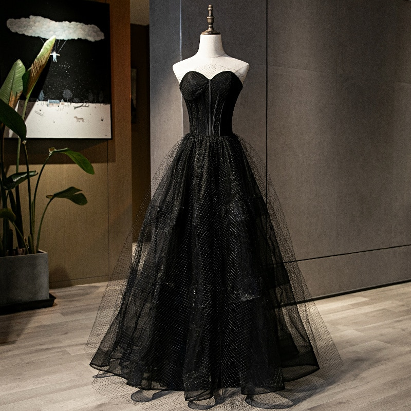 Sexy Black Evening Dresses Top Quality Tulle Prom Gowns