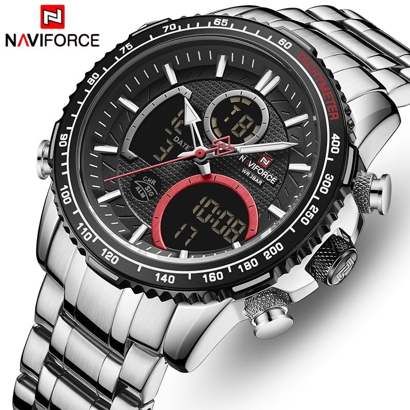 Бренд NAVIFORCE, часы для мужчин, браслет из нержавеющей стали, водонепроницаемые кварцевые наручные часы, большой спортивный хронограф, часы дл...