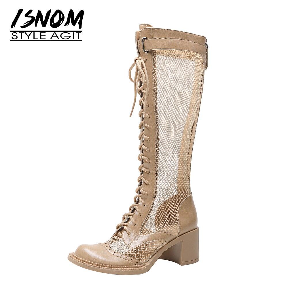 ISNOM-صندل نسائي بكعب سميك بمقدمة دائرية مع منصة بسحاب ، وأحذية شبكية غير رسمية ، وأحذية صيفية