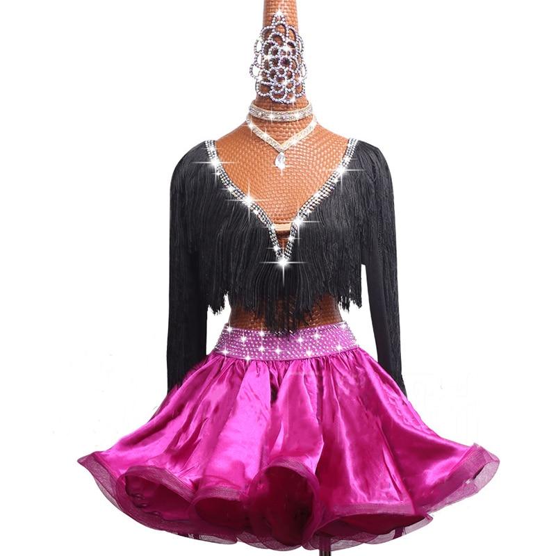 المرأة اللاتينية فستان رقص المنافسة ازياء أداء ملابس الأطفال الأسود الخامس الرقبة طويلة الأكمام شرابة هيكل السمكة تنورة